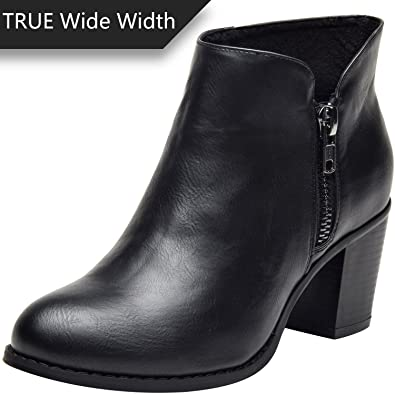 NEW..M & S. Black Leather Ankle Shoes/ Boots With Zip Sides UK 7.5- EU 41.