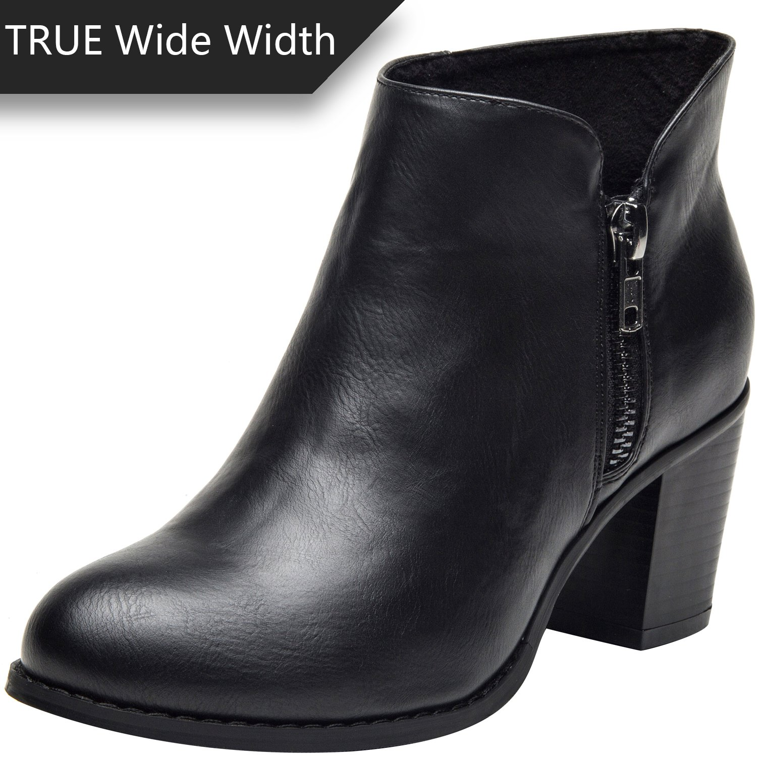 Plus Size Short Ankle Boots for Women, Autumn Winter Spring Mid Chunky Block Stacked Heels Round Toe Slip on Waist Zipper Wide Sole Boots for Lady Black US Size 8 WW