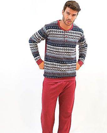 BABELO HOMEWEAR 🏠 - Pijama de Hombre – Pijama de Hombre de algodón Estampado - Conjunto de Pijama de Hombre de Invierno – Color Rojo – Moda Homewear