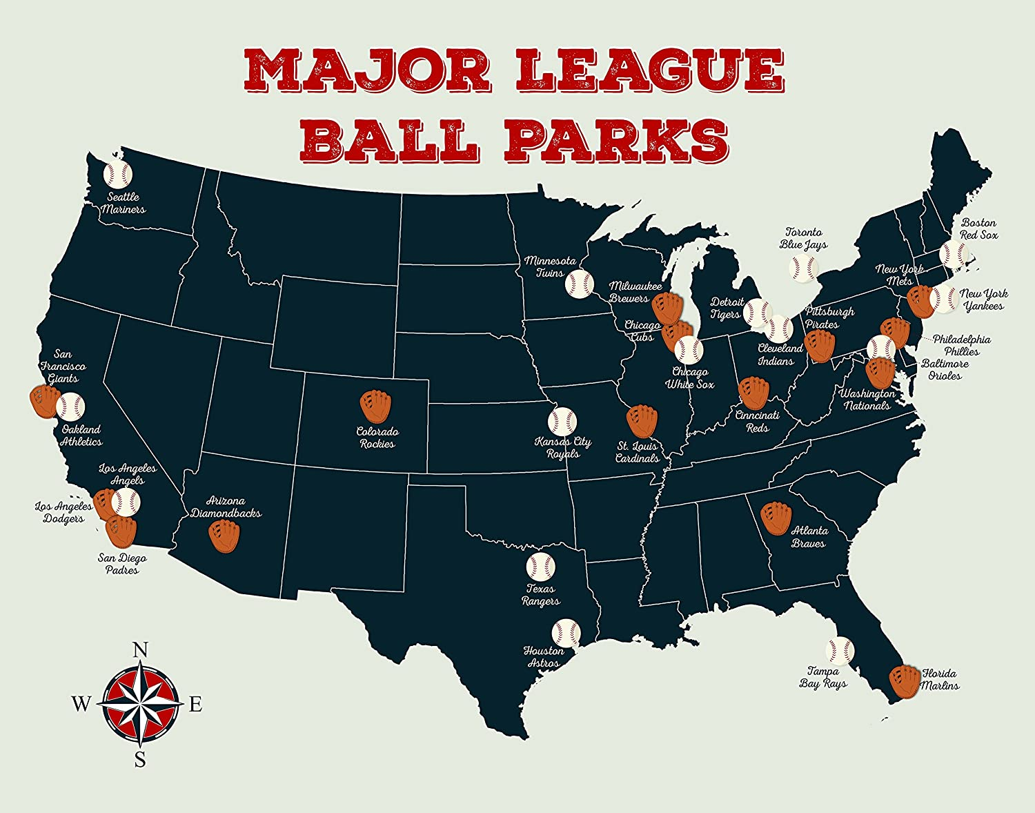 Map Of Mlb Stadiums In The Us Amazon.com: Baseball Stadium Map   Major League Ball Parks Map