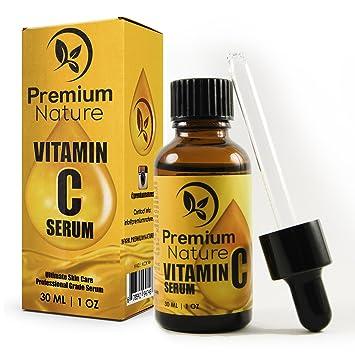 Premium Nature Vitamina c suero 20% 4 onzas super suplemento de fuerza con ácido hialurónico para la piel: Amazon.es: Belleza