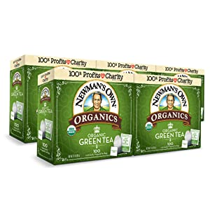 Newman's Own Organics Green Tea, 100 Individually Wrapped Tea Bags (Pack of 5)