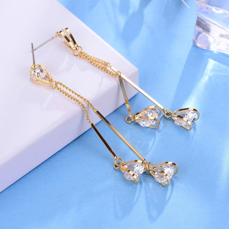 Cubic Zirconia Stud Chain Dangle Earrings