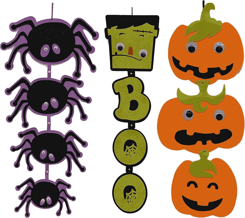 Halloween Door Decorations Hanging 3 & 4 Tier Felt Sign Spiders Pumpkins Frankenstein Boo Front Door Decor Hanger Set of 3