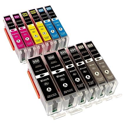 12 Cartuchos de tinta para impresora XL compatibles con CANON Pixma MG6350 MG7150 Box Contents x2 Canon PGI550BK / x2 Canon CLI551BK / x2 Canon ...