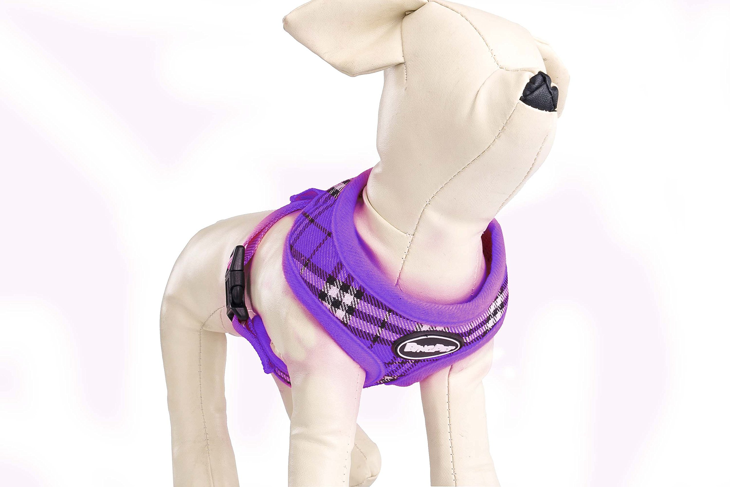 PUPTECK Soft Mesh Dog Harness Pet Puppy Comfort Padded Vest No Pull Harnesses, Purple Medium by PUPTECK (Image #4)