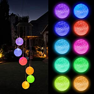 FUNPENY Solar Ball Wind Chimes, Waterproof Color Changing Hanging LED Lights Mobile Wind Chime for Outdoor Yard Garden for Mom.
