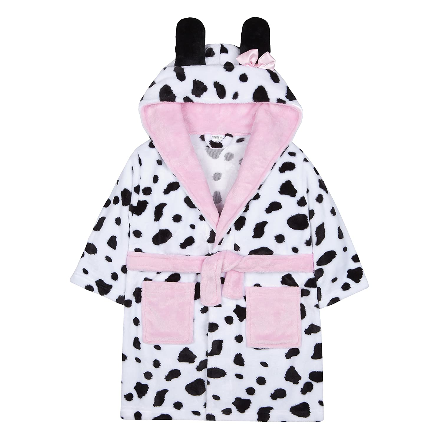 4 KIDZ Kidz Girls Snuggle Soft Hooded Dalmatian Dressing Gown Robe