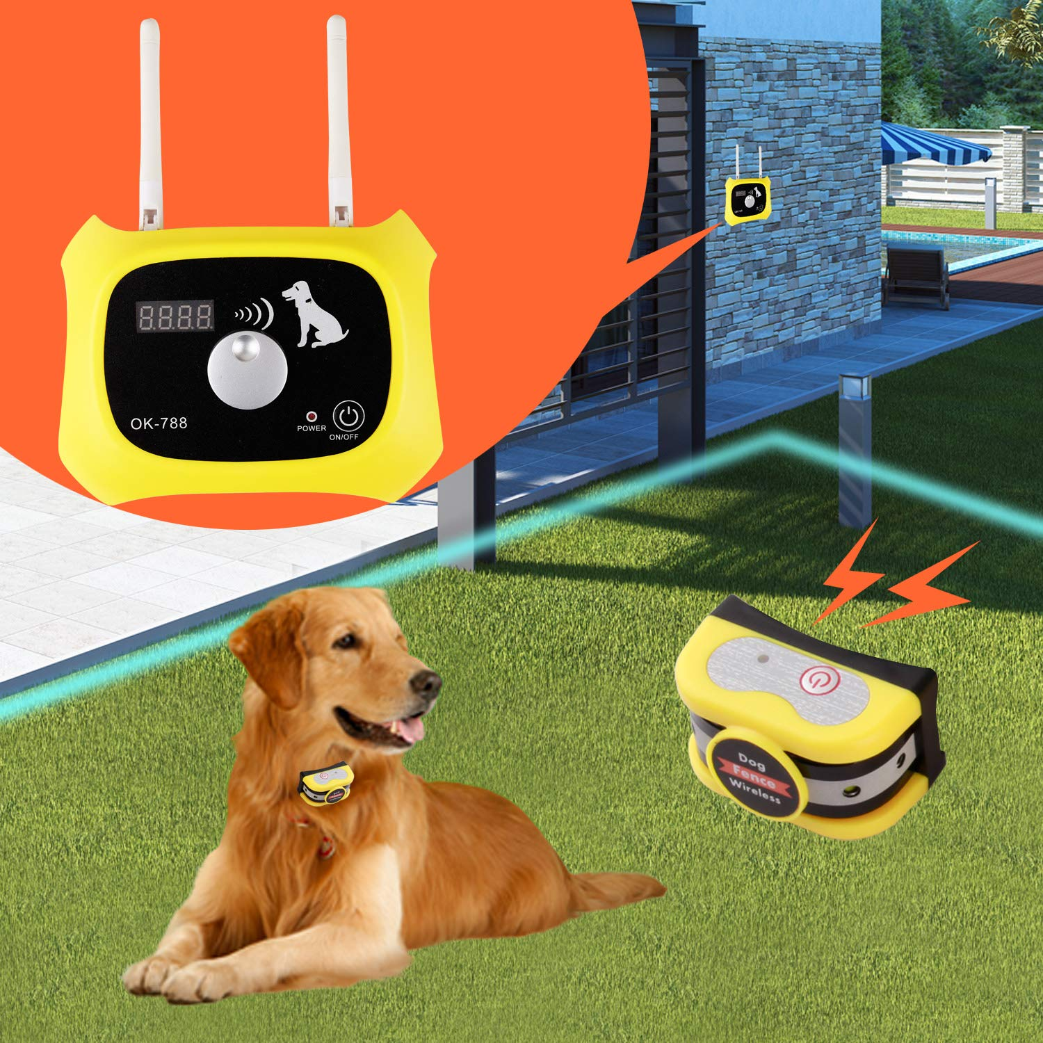 Wireless Dog Fence Electric Pet Containment System, Safe Effective No Randomly Shock Design, Adjustable Control Range 1000 Feet & Display Distance, Rechargeable Waterproof IPX7 Collar (2 Dog System) by JUSTSTART (Image #3)