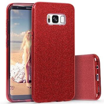 Coovertify Funda Purpurina Brillante Red Rose Samsung S8, Carcasa roja resistente de Gel Silicona con Brillo Rojo Rosa para Samsung Galaxy S8 (5,8