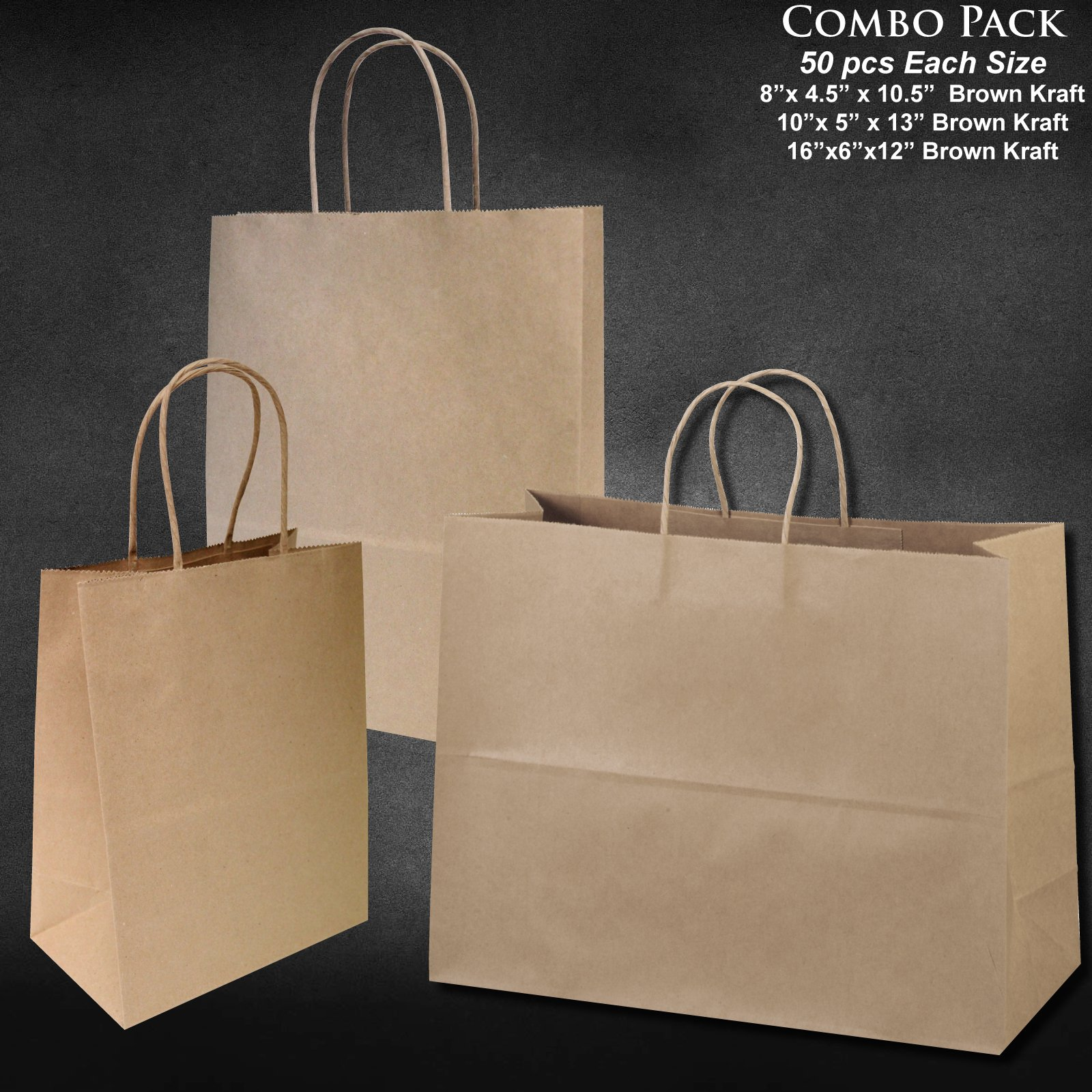 8''x4.75''x10''-10''x5''x13''-16''x6''x12'' - 50 Pcs Each - Bagsource® Brown Kraft Paper Bags 95% POST CONSUMER MATERIALS & FSC CERTIFIED