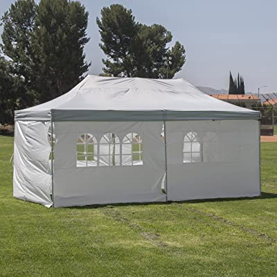 BELLEZE Premium Shelter Pop Up Canopy Tent 10x20 ft 6-Sidewall -Silver/White: Garden & Outdoor