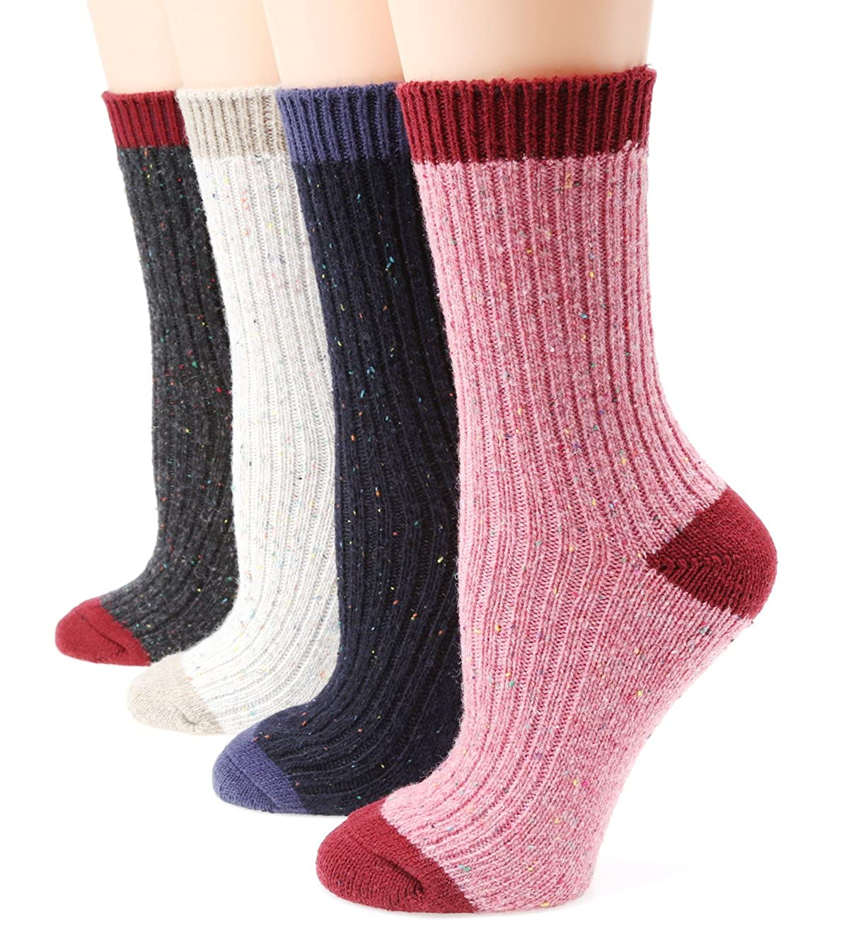 MIRMARU Women's Premium Winter 4 Pairs Wool And Cotton Blend Crew Socks Collection Grey Beige Brown) Medium / Shoe Size:6-9.