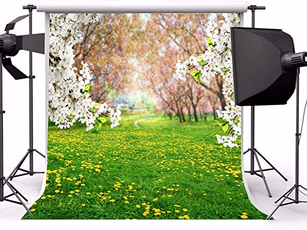 Zhy 7x5ft Spring Flowers Photo Backdrop Nature Scenery Trees Green Grass Lawn Garden Flower Photography Background Baby Girl Kids Children Portrait Party Decorations Banner Photobooth
