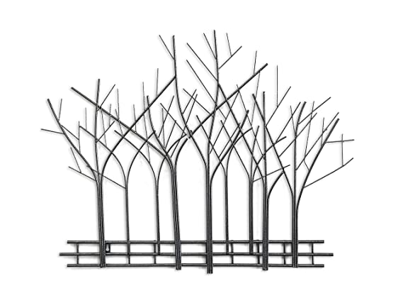 Amazon com decorshore winter trees perspective wall sculpture contemporary metal wall art artisan handcrafted wire sculpture mid century wall decor by