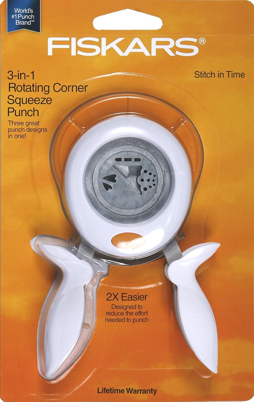 Fiskars 01-005850 Squeeze Punch 3 in 1 Corner Punch Paper Craft Stitch in Time