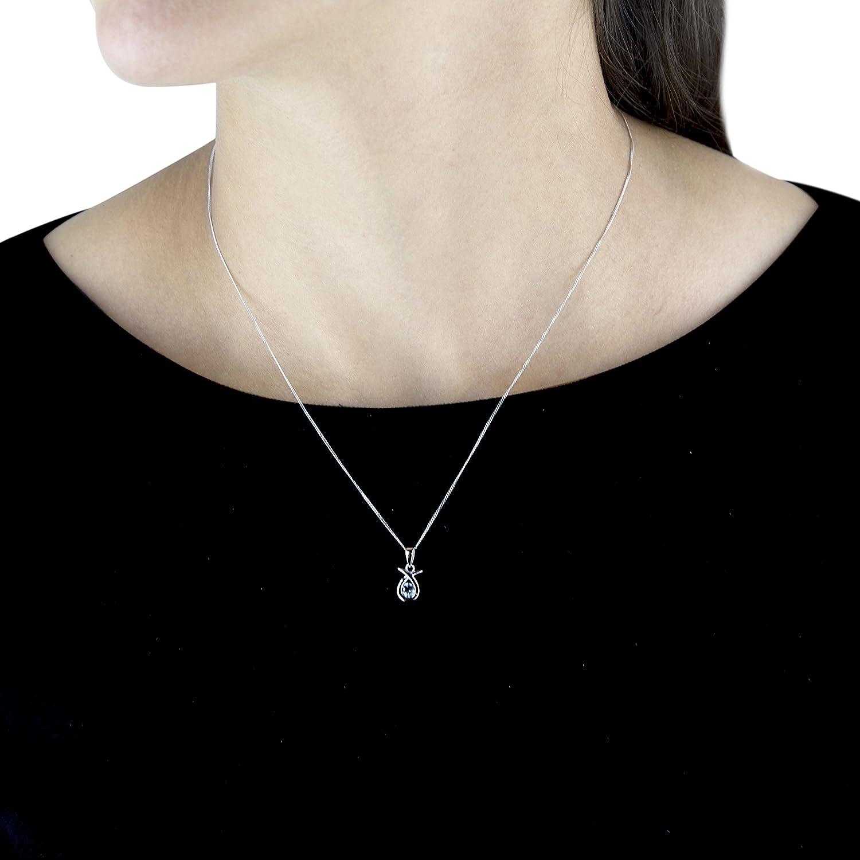 375//1000 aguamarina 46 cm Carissima Gold Collar de mujer con oro blanco de 9 quilates