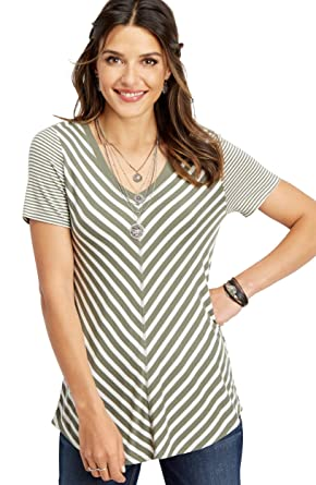 Maurices Women's 24/7 Striped V Neck Tee by Maurices