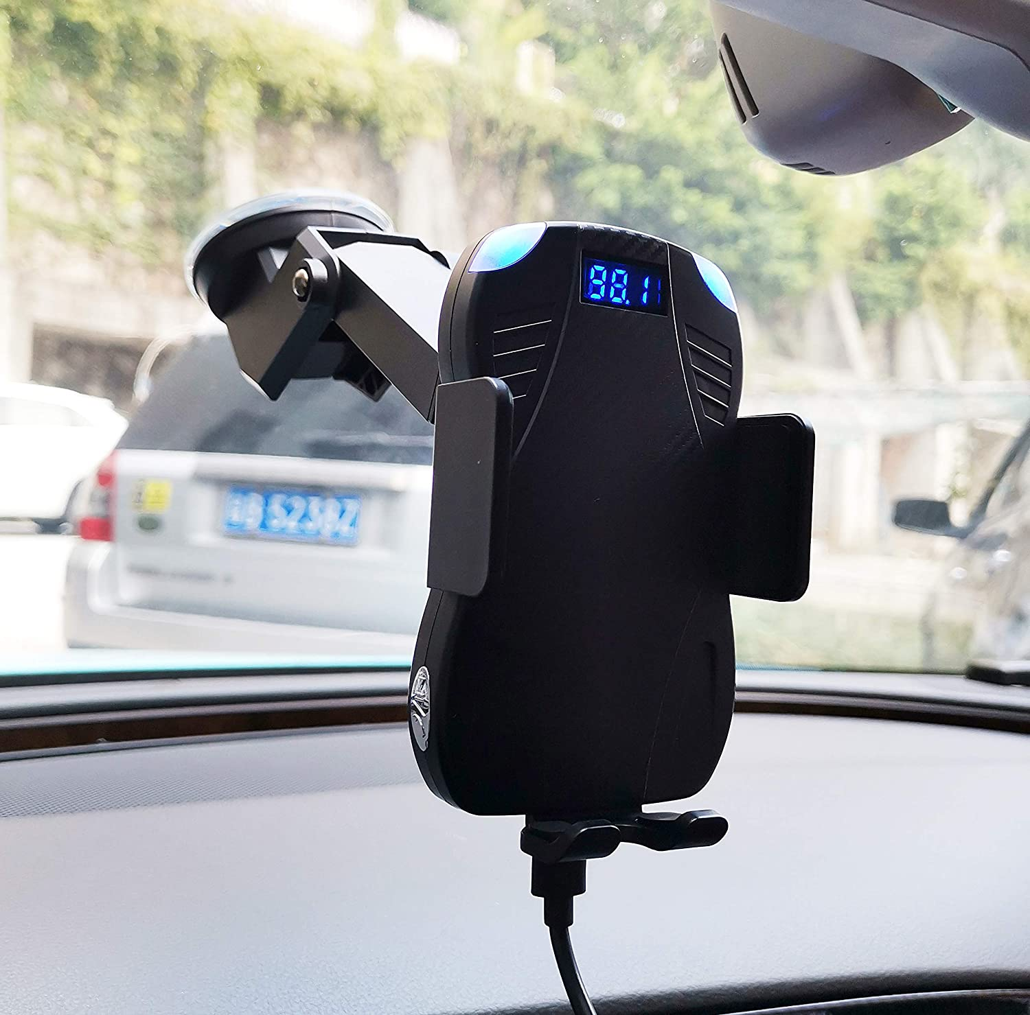 Samsung Galaxy S10//S10+//S9//S9+//S8//S8+ ENSFOUY 2019New Car Wireless Phone Charger Bluetooth FM Transmitter 10W Qi Fast Charging Mount Auto-Clamping Stand for iPhone 11//11 Pro//11 Pro MAX XS//XR//X//8//8+