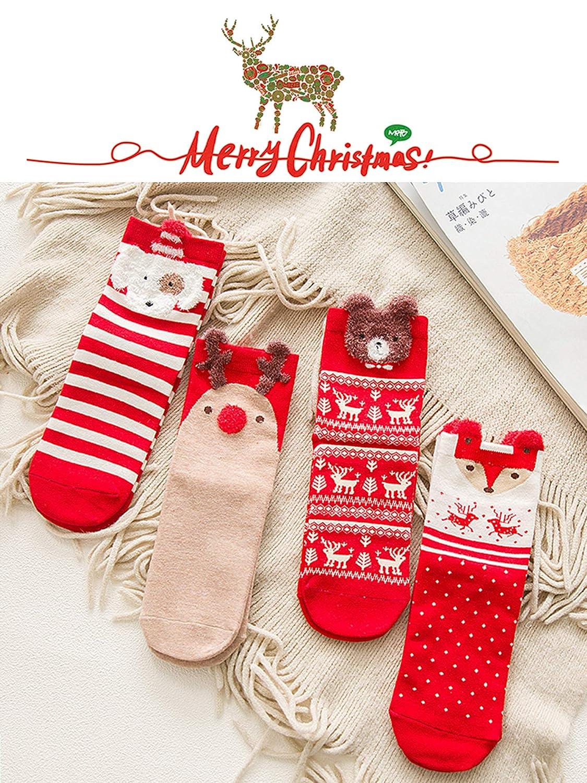 LIKERAINY Ragazze Donna Calzini Cotone di Natale Caldo Inverno Confortevole Animale 3D Calza 7 Paia