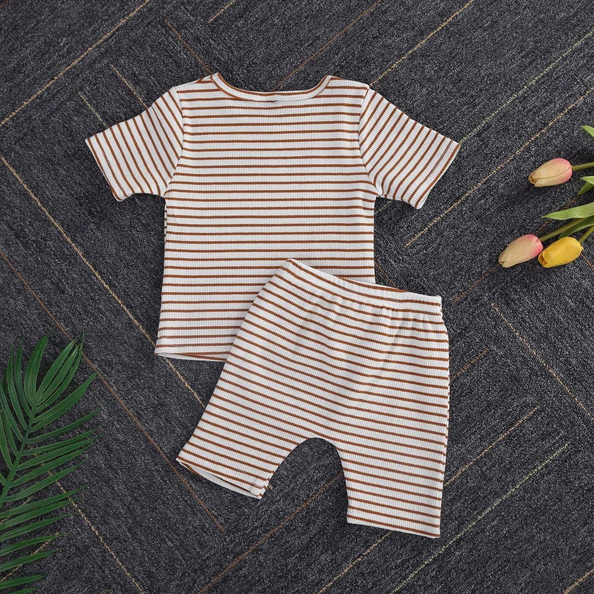 Toddler Baby Girl Boy Ribbed Pajamas Set Knit Stripe Short Sleeve Shirts Top+Shorts Pants 2Pcs Summer Outfit