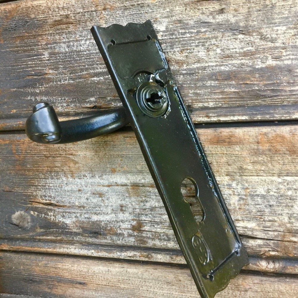 rostfrei beschichtet Klinke auf Langschild PZ 72 T/ürbeschlag wie Antik schwarz Antikas