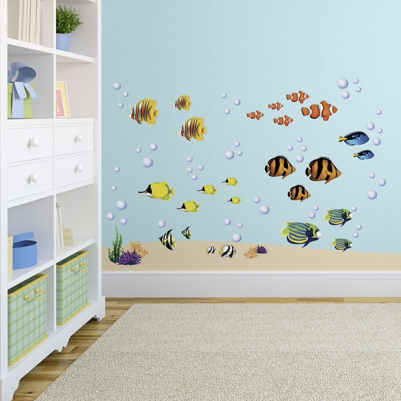 Under the Sea Fish & Coral Reef Decorative Peel and Stick Wall Sticker Decals by CherryCreek Decals