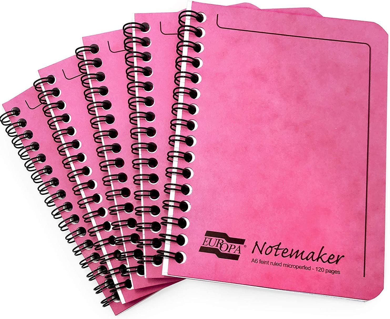 Clairefontaine Europa Cuaderno de Notas Notebook - A6-90gsm-120 Rayado Páginas - Cubierta Rosa - Pack de 10: Amazon.es: Oficina y papelería
