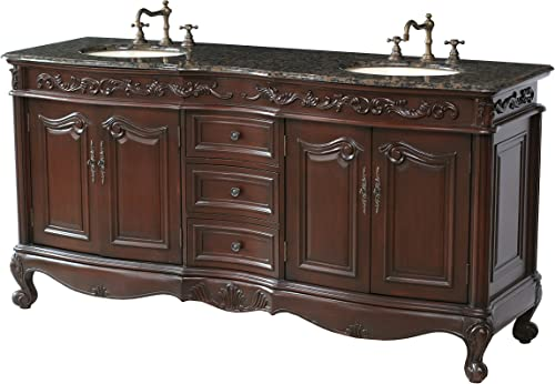 Stufurhome GM-3323-72-BB 72-Inch Saturn Double Vanity in Dark Cherry Finish with Granite Top in Baltic Brown with White Undermount Sinks