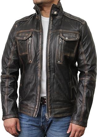 Brandslock Mens Genuine Leather Biker Jacket Vintage
