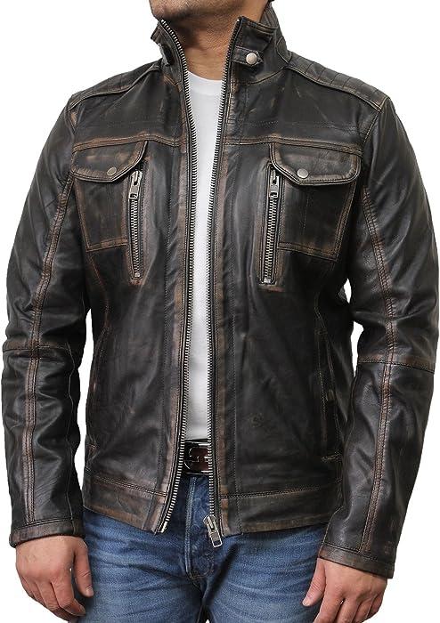 look good shoes sale beauty new arrive Mens Genuine Leather Biker Jacket Vintage Retro