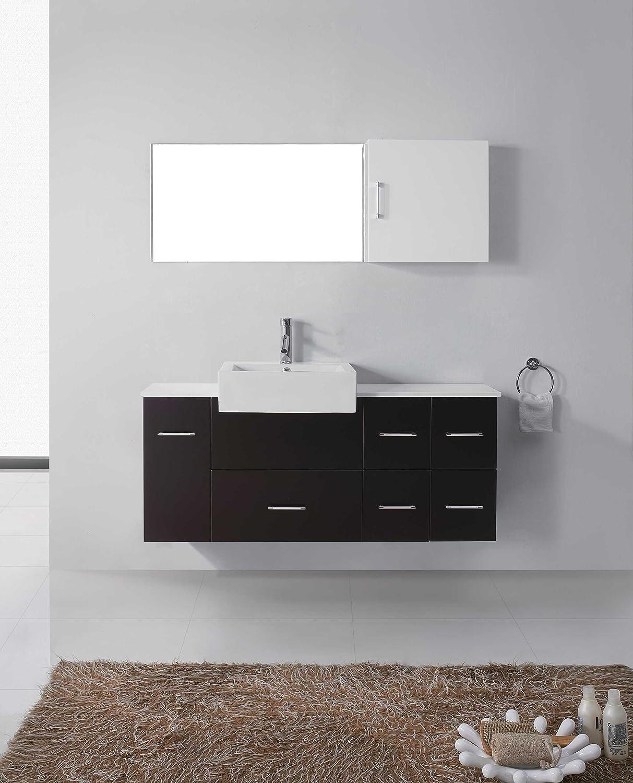 Virtu usa hazel 56 inch single sink bathroom vanity set free - Virtu Usa Um 3055 S Bl Hazel 57 Inch Wall Mounted Single Sink Bathroom Vanity Set With White Stone Countertop Black Finish Amazon Com