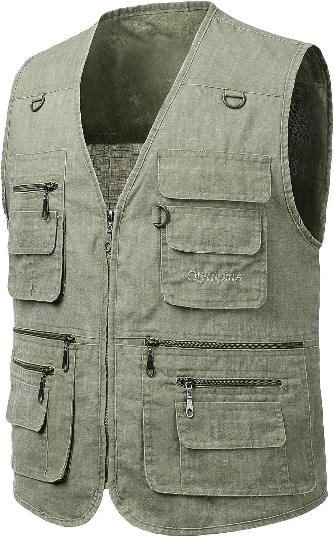 Men Multi-Pocket Outdoor Fishing Hunting Utility Vest Waistcoat Gilet Jacket