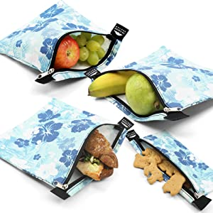 Nordic By Nature 4 Pack - Reusable Sandwich Bags Dishwasher Safe BPA Free - Durable Washable Quick Dry Cloth Baggies -Reusable Snack Bags For kids school lunches - (Blue Hawaii)