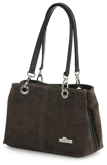 922f44f9bda LiaTalia - Lush Italian Suede Womens Small Twin Top Multi Zip Pockets  Shoulder Bag - Holly