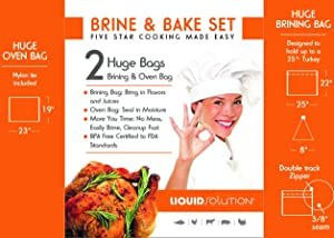 Brining and Oven Bag Combo Extra Large BPA Free 1 Oven Bag & 1 Brining Bag for Turkeys and large cuts of meat. Tested to FDA Food Standards. Built with Thick Materials and Seams