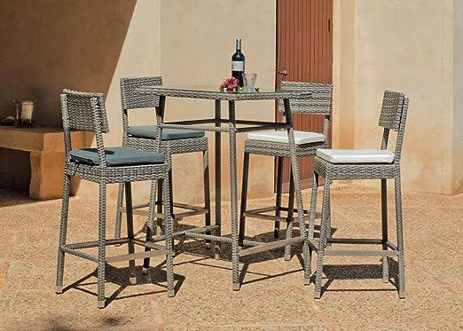 Mesa alta y sillas en resina Almara: Amazon.es: Jardín