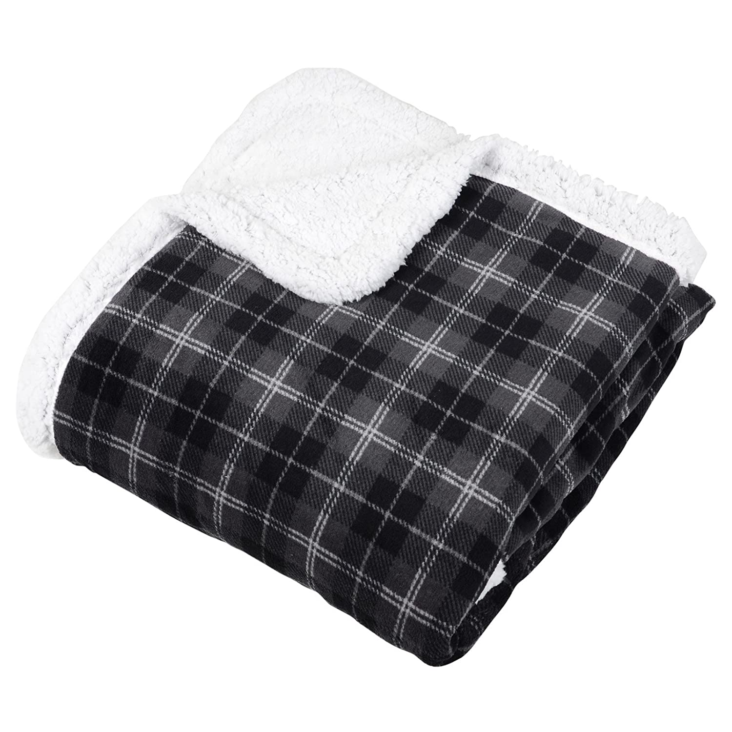 Micro-Pro Grey/Black Tartan Check Fleece Blanket Soft Sherpa Sofa Bed Throw 130x160cm XSS