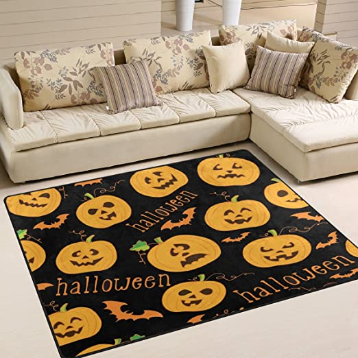Use7 Cartoon Pumpkin Face Bat Halloween Black Area Rug Rugs For Living Room Bedroom 203cm X 147 3cm 7 X 5 Feet Amazon Co Uk Kitchen Home