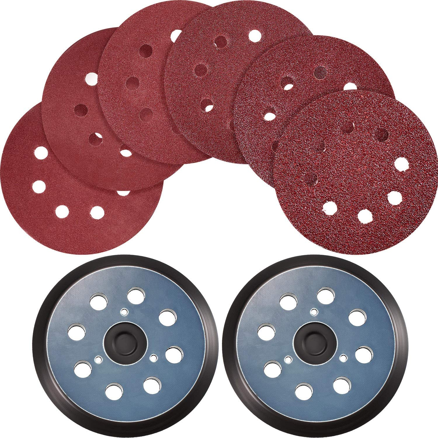 2 Pieces Sander Pads Replaces 5 Inch 8 Hole Hook and Loop Orbital Sanding Pad with 30 Pieces Sanding Discs Sandpaper 40 80 120 180 240 320 Grits Compatible with DeWalt, Makita and Porter Cable