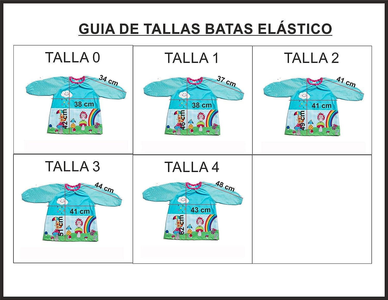 Dyneke Bata elástica Flores (personalización opcional gratuita con nombre bordado) (Talla 0): Amazon.es: Ropa y accesorios