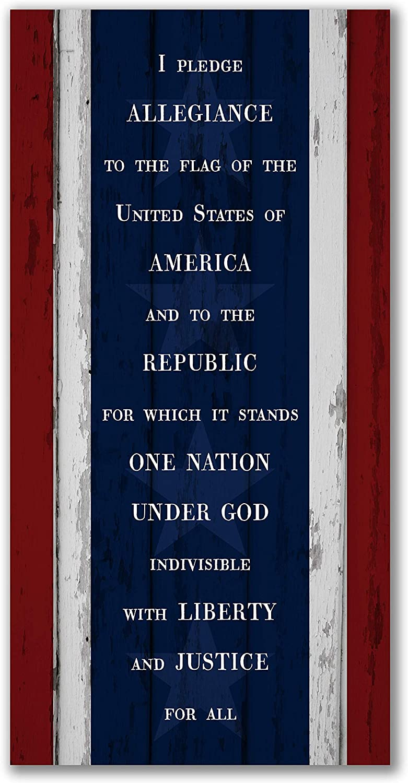 I Pledge Allegiance Rustic Wood Wall Sign 9x18