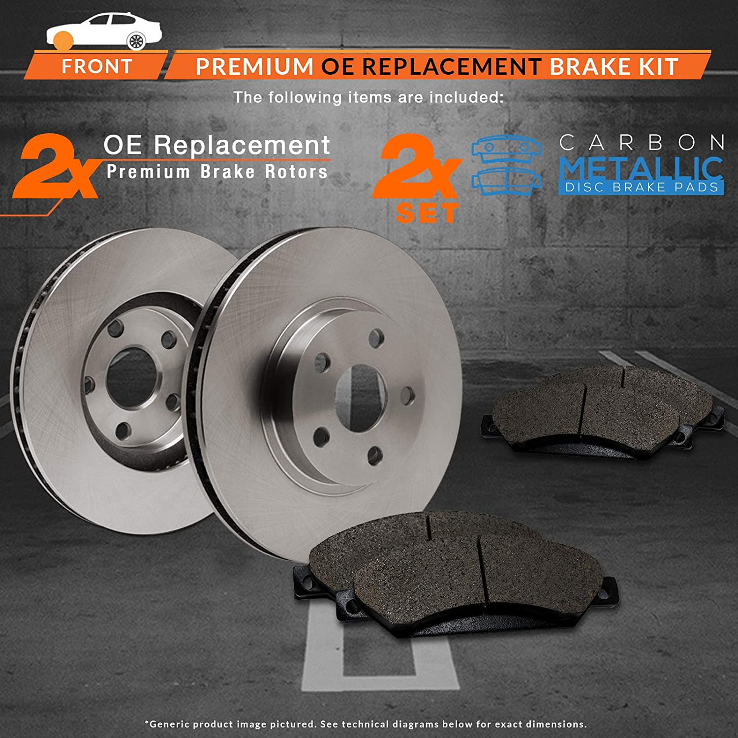 Max Brakes Front Premium Brake Kit OE Series Rotors + Metallic Pads TA135641 Fits: 2011 11 2012 12 2013 13 Ram 2500