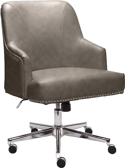 Amazon Com Serta Style Leighton Home Office Chair Gathering Gray Bonded Leather Furniture Decor