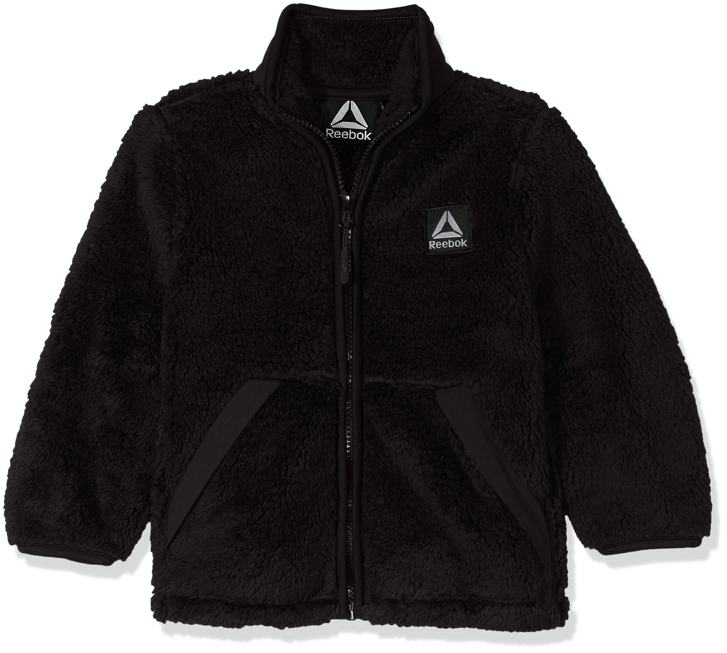 Reebok Boys' Little Active Double Sided Fleece Jacket, Black, 5/6