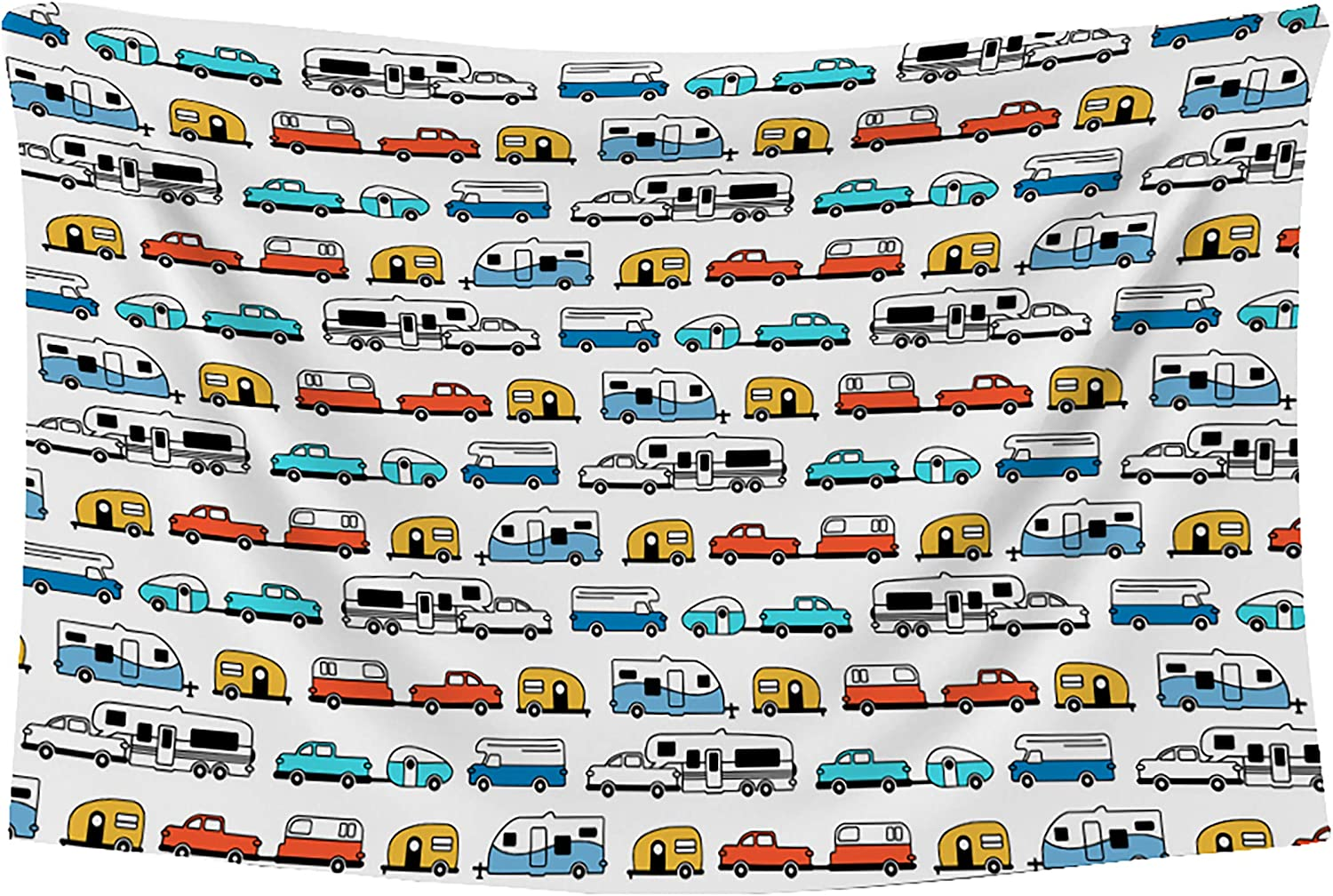 Camping Picnic Table Cloth with Happy Camper Words Caravans Retro RV Fun Holiday Camping Decor Washable Waterproof Outdoor Tablecloth Rectangle Table Cover (60