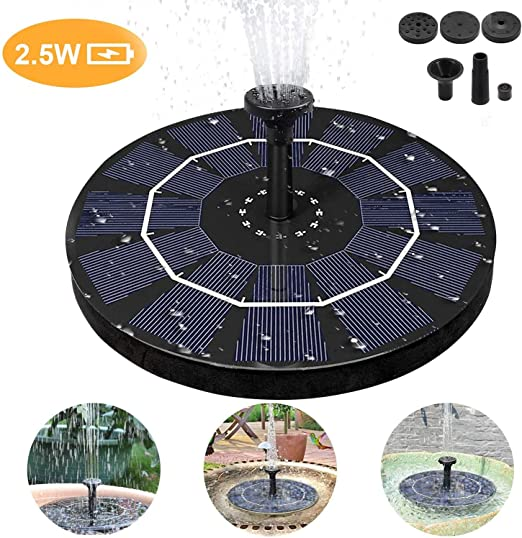 Fuente Solar Bomba, Bomba de Agua Solar para Fuente 2.5W Respaldo de batería incorporada, Flotante Energía Panel Jardín Solar Silicio Monocristalino Kit, para Fuente, Piscina, Jardín, Estanque: Amazon.es: Jardín