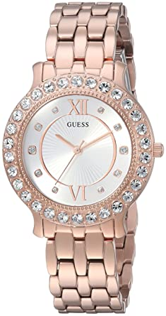 511f244df GUESS Women's Stainless Steel Crystal Watch, Color: Rose Gold-Tone (Model: