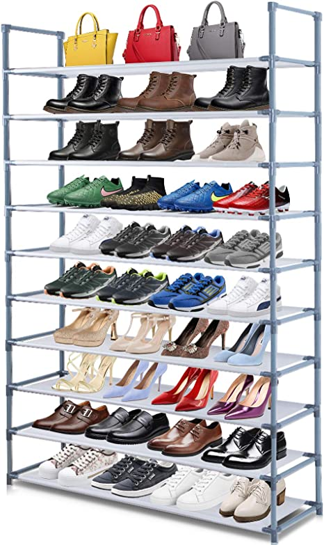 Amazon.com: Camabel 10 Tiers Shoe Rack Stackable Narrow Expandable For 60  Pairs Shoe Non-Woven Fabric Shoe Storage Organizer Cabinet Tower Shelf  Space Saving DIY Assembly No Tools Required Hold High Heeled Flat:
