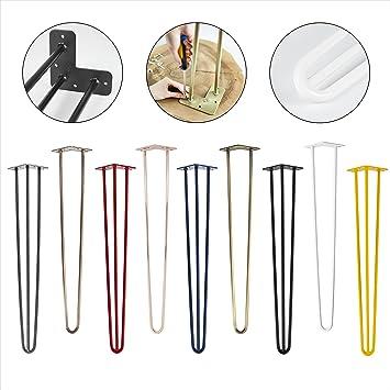 4x Natural Goods Berlin Hairpin Leg Tischbeine |12mm Stahl viele Farben 30cm//2 Streben alle Gr/ö/ßen Wei/ß